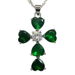 Green Emerald Fancy Cross White Gold Plated Girlish Pendant Necklace