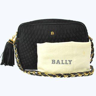 BALLY Quilted Suede Leather Black Gold Fringe shoulder Bag Italy