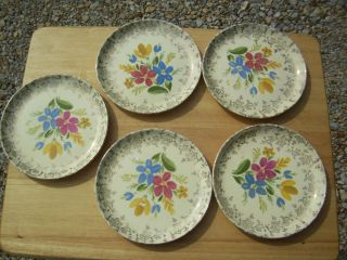 Vintage Royal China Warranted 22 Kt. Gold Edge Floral Bread Plates