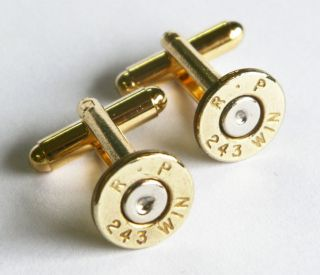 Remington 243 Brass Thin Gold Tone Bullet Cufflinks Wedding Cuff Links