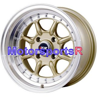 15 15x8 XXR 002 Gold Wheels Rims Deep Dish Lip Stance Drift 90 99 05