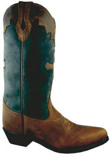 Smoky Mountain Womens Cross Leather Western Boot   Distress Brown