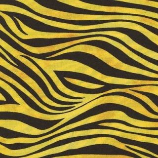 BLACK & GOLD/YELLOW TIGER SKIN PRINT Cotton Fabric BTY for Quilting