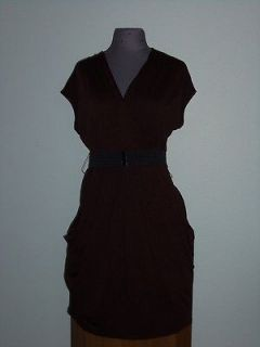 Tina Knowles Beyonce Dark Brown Dress w/ Black Belt Worn 1x Stretch 9
