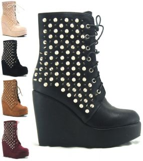 NEW WOMENS LADIES ANKLE LACE UP ZIP WEDGE STUDS SPIKES HEEL SHOES