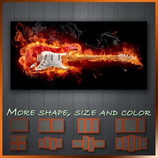 Fender Stratocaster Guitar On Fire  Modern Contemporary Wall Deco
