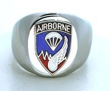 ARMY AIRBORNE PARATROOPER LOGO MILITARY STAINLESS STEEL SILVER RING
