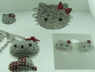 VALENTINES HELLO KITTY SILVER 5 IN ONE SET CHARM RING CHAIN BRACELET