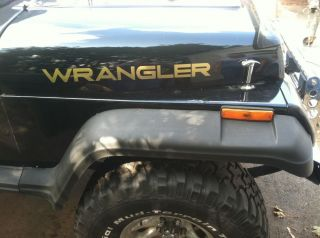 JEEP WRANGLER YJ 6 Pc. decal set Gold Metallic HOOD FENDERS FRONT REAR