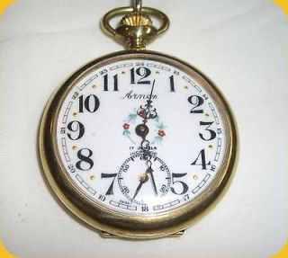 Arnex Incabloc 17J Open Face Swiss Pocket Watch   10K GF