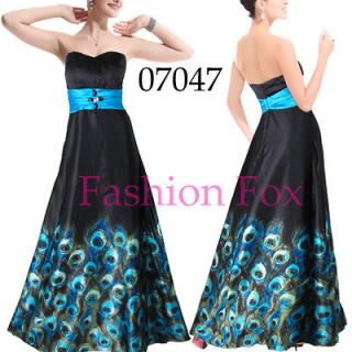 Strapless Sexy Peacock Black Fashion Dress Evening Gown Long Dress