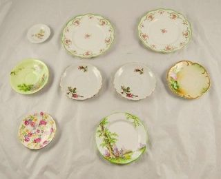 Lot of 9 Painted Plates Saucers O&EG Royal Austria Aynsley Royal