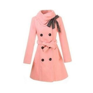 2012Hot Womens Woolen Warm Winter Long Coat Jacket Trench Slim