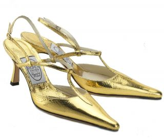 Emma Hope Gold Cracked Metalic Vintage Style Pointy Toe Slingback
