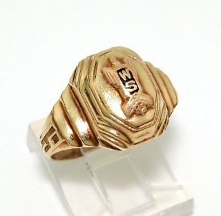 Vintage 1947 10K Rose/Yellow Gold High School Class Ring Size 7.25