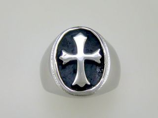 Mens Fleur De Lis Cross Oval Signet Ring Stainless Steel