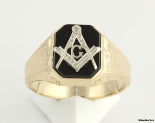 Genuine Onyx Master Mason Vintage Ring   10k Yellow White Gold Band A+