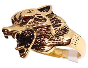 Mens Wolf Head Red Eye 18kt Gold Plated Ring New