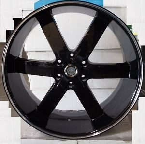 26 U2 55 GLOSS BLACK 6X139 RIMS TIRES CHEVY GMC TITAN NISSAN TAHOE
