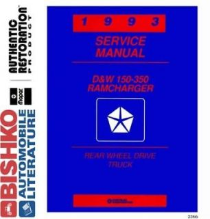 1993 Dodge Ram Truck Ramcharger Shop Service Repair Manual CD Engine