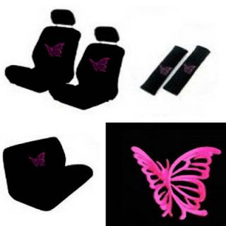Butterfly Pink Girly Black Van Seat Covers Front Rear + Steering Wheel