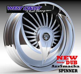 30 DUB AzzSmacka Spinner RIMS WHEEL Set SKIRTZ Spinners NEW Spin