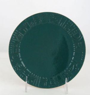 Frankoma Pottery 7 Plate #7G. Mayan Aztec, Forest Green Front, Terra