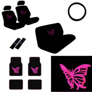 Seat Covers Girly Pink Butterfly Floor Mats +Wheel+Belt+He ad Pads
