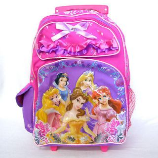 Disney Princess 16 Girls Rolling Trolley Wheels Pink Purple Backpack