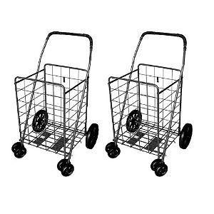 Carts Basket folds Flat for Storage front Rotating wheels Jumbo size