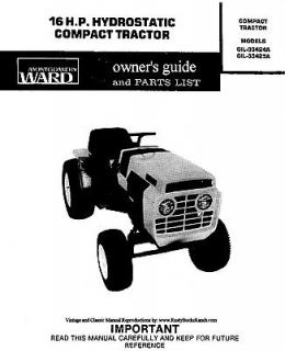 Montgomery WARDS Gilson Bros Tractors Operator Parts Manual GIL