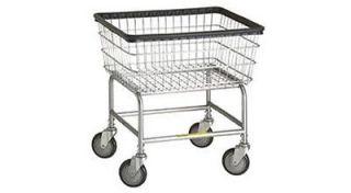 Standard Laundry Cart   On Wheels   With Chrome Basket