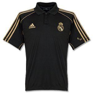 Real Madrid 2011 2012 Soccer Travel Polo Brand New Black Gold