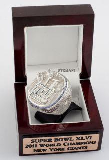 2011 SUPER BOWL NEW YORK GIANTS NFL RING 69 GRAMS 18K WHITE GOLD