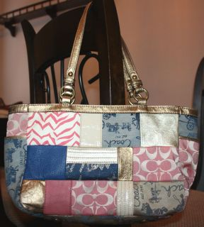 COACH 2011 AUTHENTIC 398 Patchwork Multi color Gold Leather Tote Purse