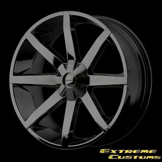 22 x9 5 KMC Wheels KM651 Slide Gloss Black 5 6 Lug Wheels Rims Free