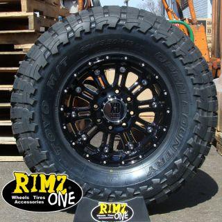 18 XD Hoss 795 Black Wheels 35x12 50R18 Toyo MT 35 Tires GM Ford JK