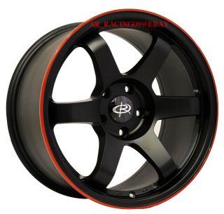 Rota Wheels 17x9 5x114 3 25 Grid Flat Black Red Stripe 08 09 10 11 12