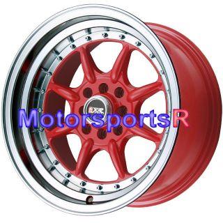 16 16x8 XXR 002 RED Rims Wheels Deep Dish Lip Stance 83 84 87 88 91