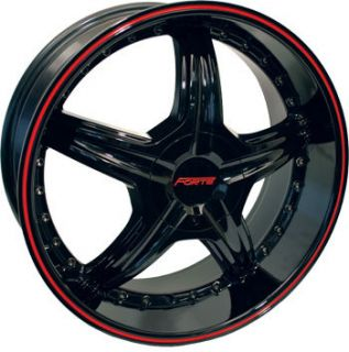 F45 Redrum Black w Red Stripe Ford Mustang Eclipse Wheels Rims
