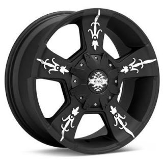 22 Black KMC Wheels Rims Toyo Tires Package 6 Lug Chevy Ford Truck 6x5