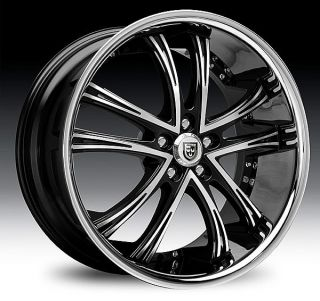 20 22 24 26 28 30 Lexani LSS55 Black Chrome Wheels Dodge RAM