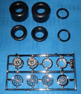 Goodyear Slicks Mag Rims Spoked Fronts 1/25 Parts Lot #157  Model Car