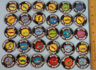 30 Hot Wheels Red Line Buttons