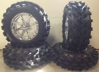 MSA Diesel Chrome 14 ATV Wheels 28 Swamp Lite Tires Sportsman RZR