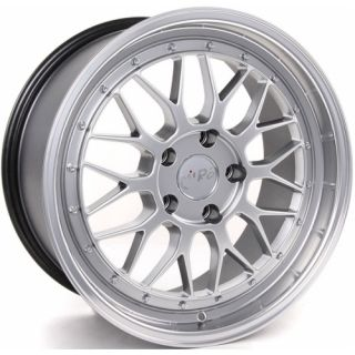 Staggered Wheels 5x100 Silver Polish Lip Rims Set Golf Jetta BBS LM