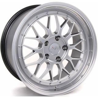 Staggered Wheels 5x100 Silver Polish Lip Rims Set Golf Jetta BBS LM