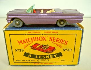 Matchbox RW No 39 Pontiac Convertible Lilac Grey Wheels