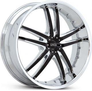 22 inch x7 5 Status Fang Chrome Wheels Rims 4x100 40