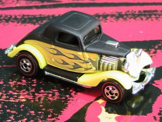 Hot Wheels 3 Window 34 Ford with Redlines Yellow Black Flames